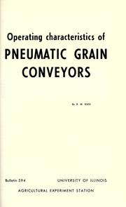 Cover of: Operating characteristics of pneumatic grain conveyors