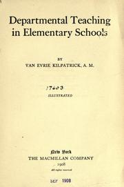 Cover of: Departmental teaching in elementary schools