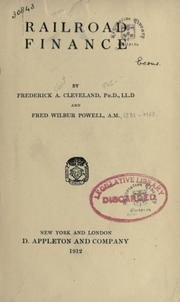 Cover of: Railroad finance