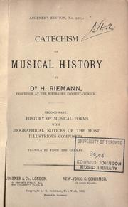 Cover of: Catechism of musical history