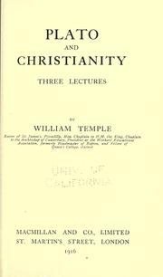 Cover of: Plato and Christianity: three lectures