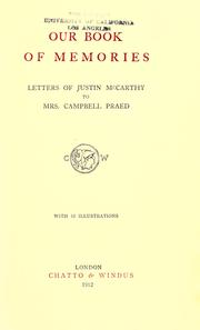 Cover of: Our book of memories: letters of Justin McCarthy to Mrs. Campbell Praed