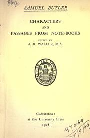 Cover of: Characters and passages from note-books: edited by A.R. Waller.