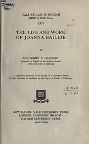 Cover of: The life and work of Joanna Baillie