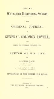 Cover of: The original journal of General Solomon Lovell, kept during the Penobscot Expedition, 1779