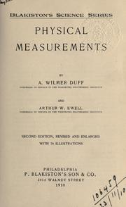 Physical measurements by A. Wilmer Duff
