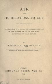 Cover of: Air and its relations to life