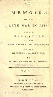 Memoirs of the late war in Asia by Thomson, William