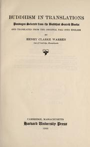 Buddhism in translations by Henry Clarke Warren