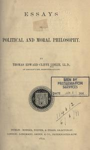 Cover of: Essays in political and moral philosophy