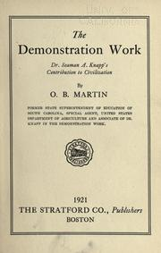 Cover of: The demonstration work