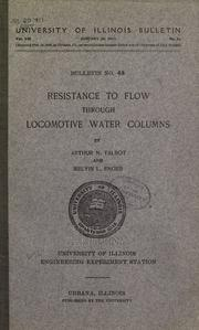 Cover of: Resistance to flow through locomotive water columns