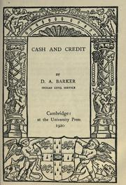 Cover of: Cash and credit