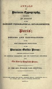Annals of Parisian typography by William Parr Greswell