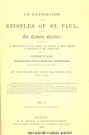 Cover of: An exposition of the epistles of Saint Paul and of the Catholic epistles | John MacEvilly