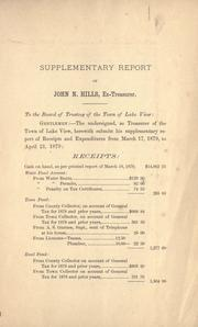 Cover of: Report of Edgar Sanders, treasurer of the Town of Lake View, of receipts and expenditures from April 17, 1879 to March 17, 1880