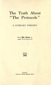 "Cover of: The truth about ""The Protocols"" 