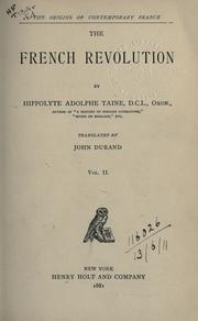 Cover of: The French Revolution by Hippolyte Taine