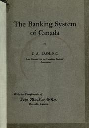 Cover of: The banking system of Canada
