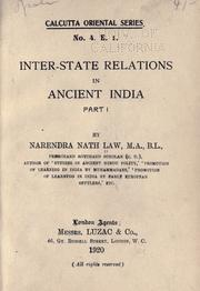 Inter-state relations in ancient India by Narendra Nath Law