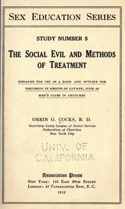 Cover of: The social evil and methods of treatment