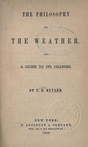 Cover of: The philosophy of the weather