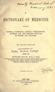 Cover of: A dictionary of medicine