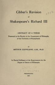 Cover of: Cibber's revision of Shakespeare's Richard III