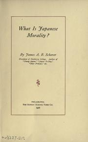 Cover of: What is Japanese morality?