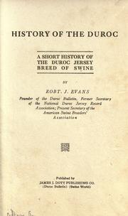 Cover of: History of the Duroc