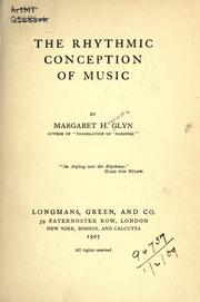 Cover of: The Rhythmic Conception of Music