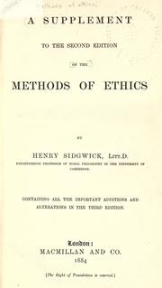 Cover of: A supplement to the second edition of the methods of ethics