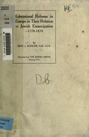 Cover of: Educational Reforms in Europe in their relation to Jewish emancipation 1778-1878
