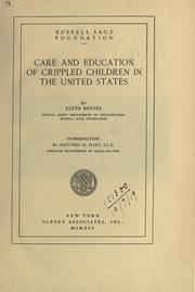 Cover of: Care and education of crippled children in the United States