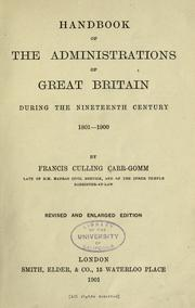 Cover of: Handbook of the administrations of Great Britain during the nineteenth century, 1801-1900