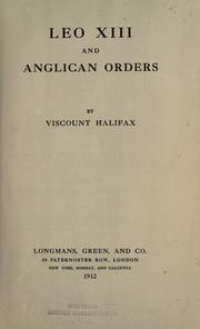 Cover of: Leo XIII and Anglican orders