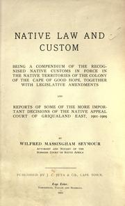 Cover of: Native law and custom