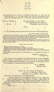 Cover of: Proceedings of a court of inquiry convened at the city of Washington, D.C