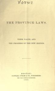 Cover of: The Province laws