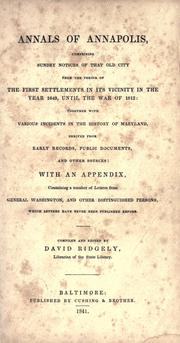 Cover of: Annals of Annapolis