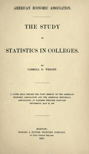 Cover of: The study of statistics in colleges