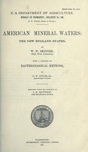 Cover of: American mineral waters: the New England states
