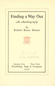 Finding a way out by Robert Russa Moton