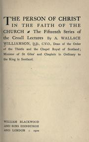 Cover of: The person of Christ in the faith of the church