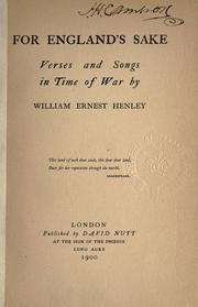 Cover of: For England's sake, verses and songs in time of war