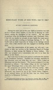 Cover of: Missionary work at Red Wing, 1849 to 1852