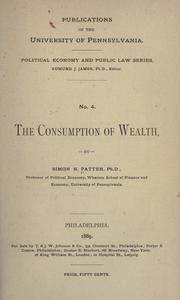 Cover of: The consumption of wealth