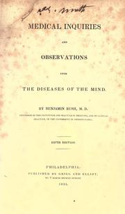 Cover of: Medical inquiries and observations upon the diseases of the mind