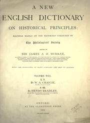 Cover of: A new English dictionary on historical principles (vol 8, pt 1)