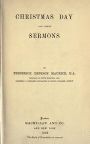 Cover of: Christmas Day and other sermons